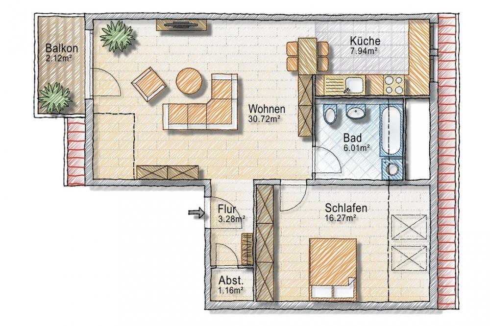Grundriss im Dachgeschoss