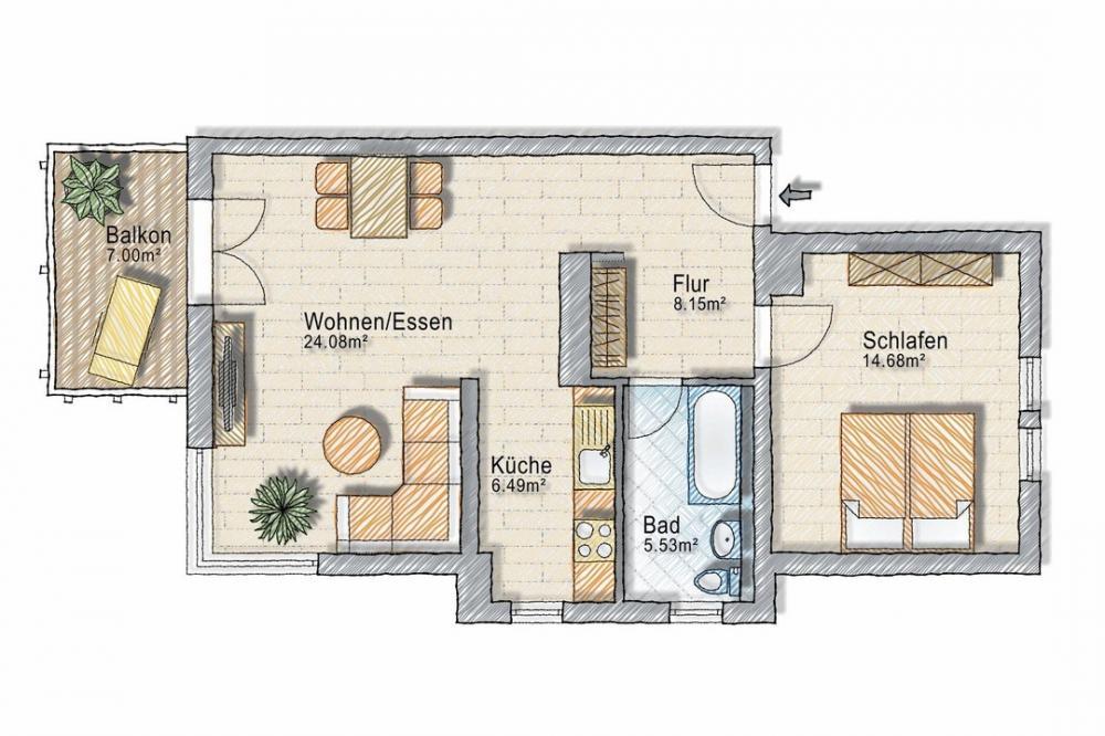 Grundriss 2 Zimmerwohnung