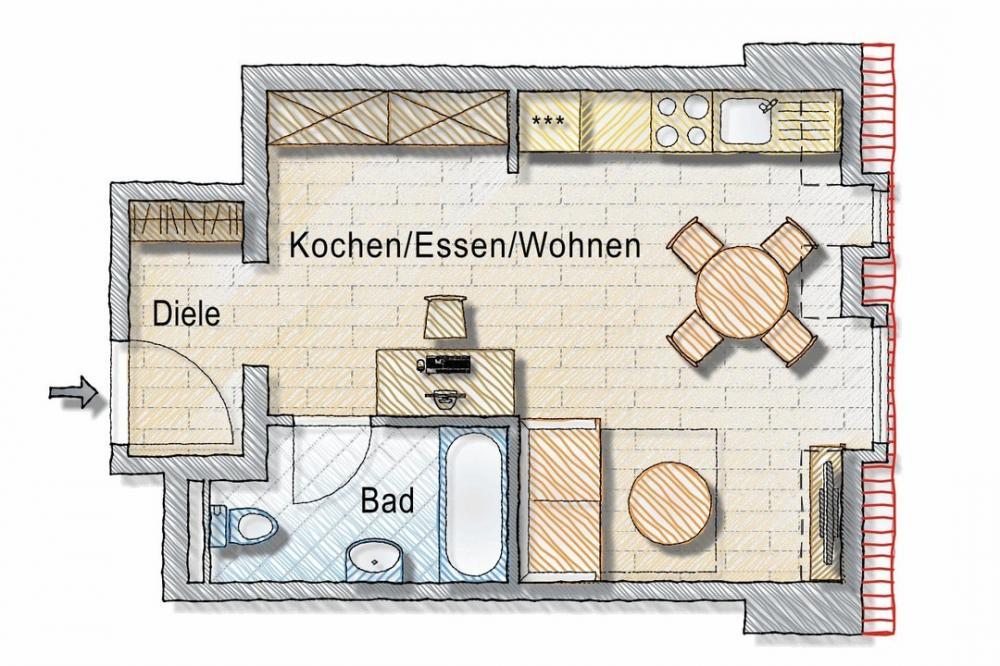Grundriss 1 Zimmerwohnung