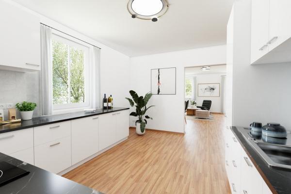 Küche Blick in Wohnbereich